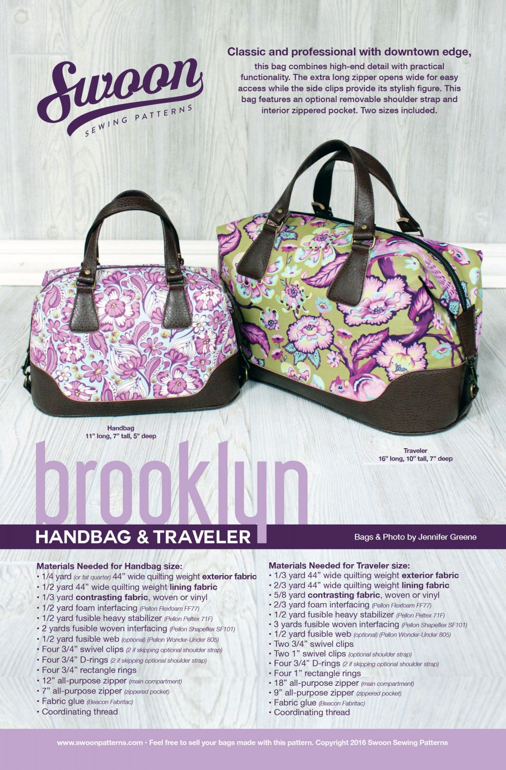 Brooklyn Handbag & Traveler sewing pattern from Swoon