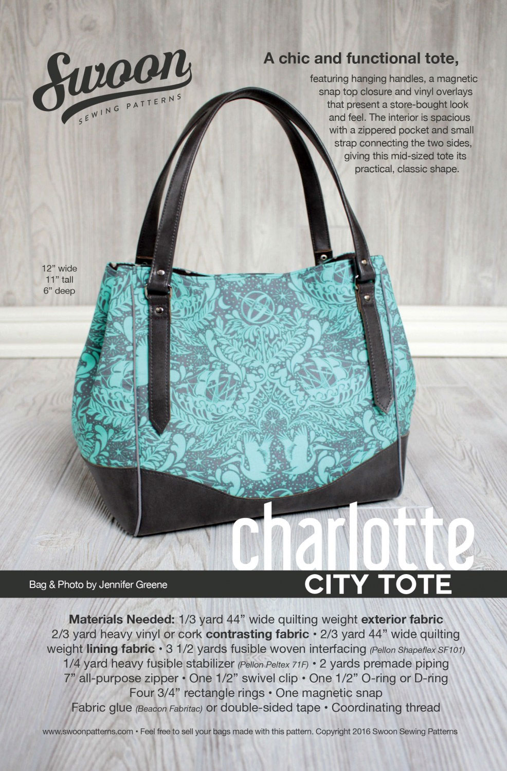 Charlotte City Tote Sewing Pattern From