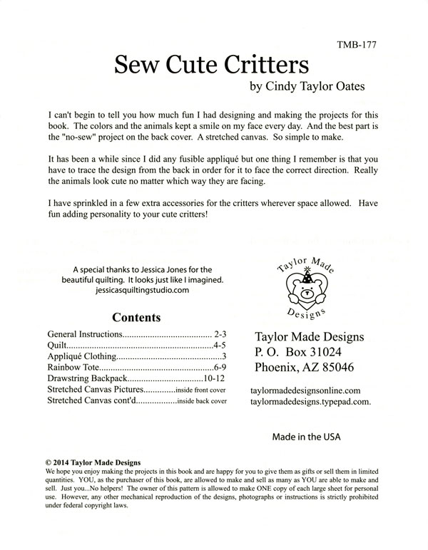 Sew-Cute-Critters-sewing-pattern-book-Taylor-Made-Designs-1