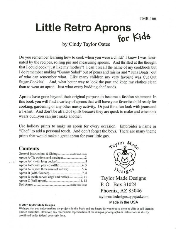 Little-Retro-Aprons-for-Kids-sewing-pattern-book-Taylor-Made-Designs-1