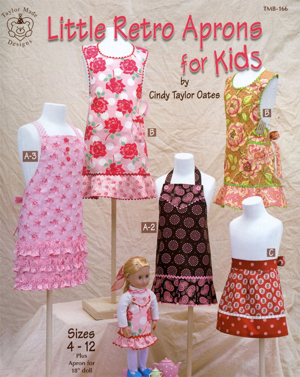Little-Retro-Aprons-for-Kids-sewing-pattern-book-Taylor-Made-Designs-front