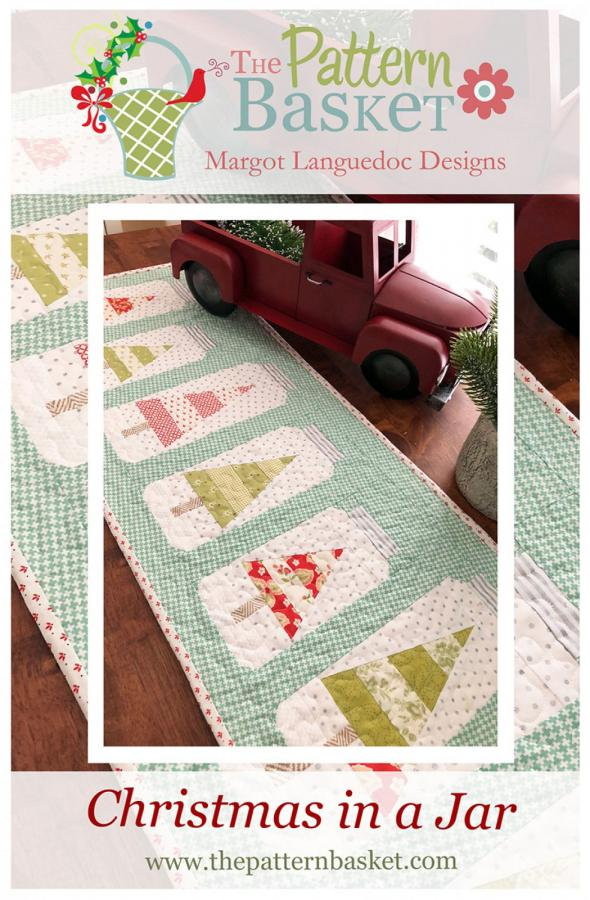 Christmas Jars Table Runner quilt sewing pattern from The Pattern Basket