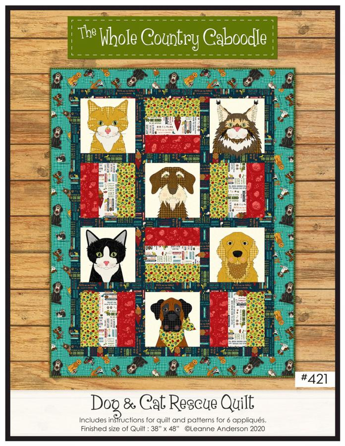 Dog & Cat Rescue quilt sewing pattern from The Whole Country Caboodle