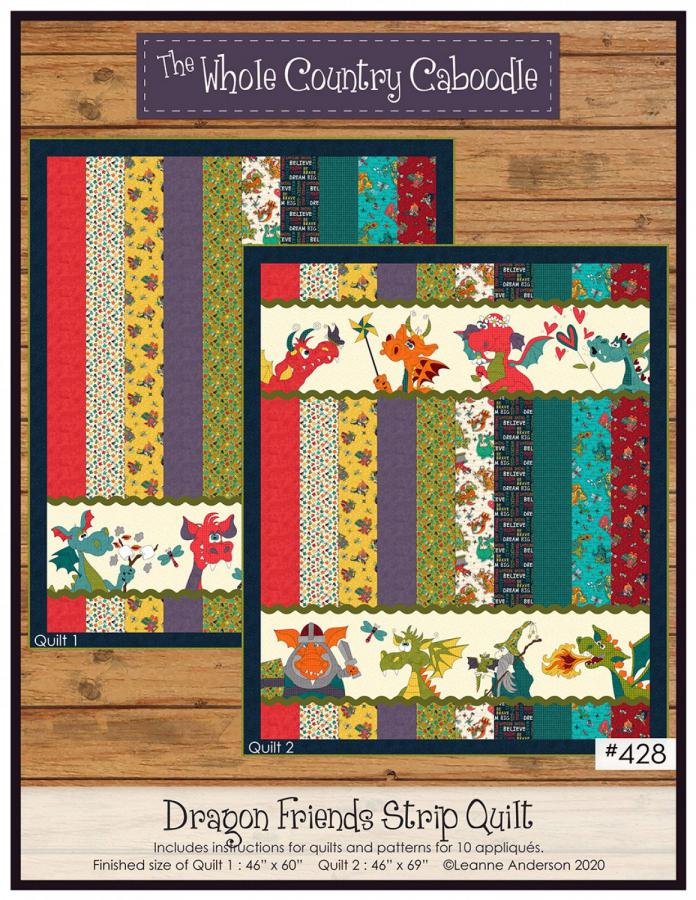 Dragon Friends Strip Quilt sewing pattern from The Whole Country Caboodle
