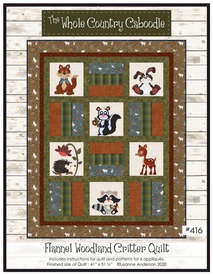 Flannel Woodland Critter Quilt sewing pattern from The Whole Country Caboodle