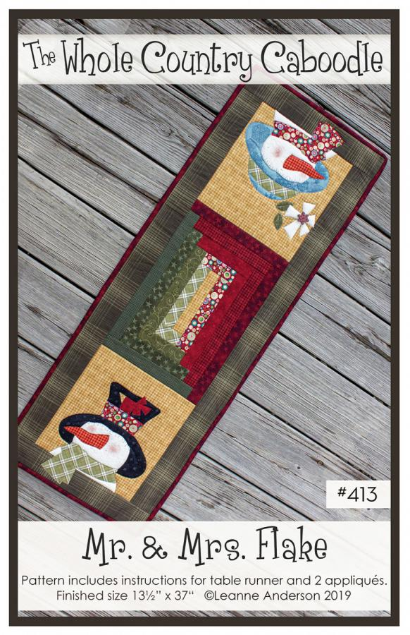Mr. & Mrs. Flake table runner sewing pattern from The Whole Country Caboodle