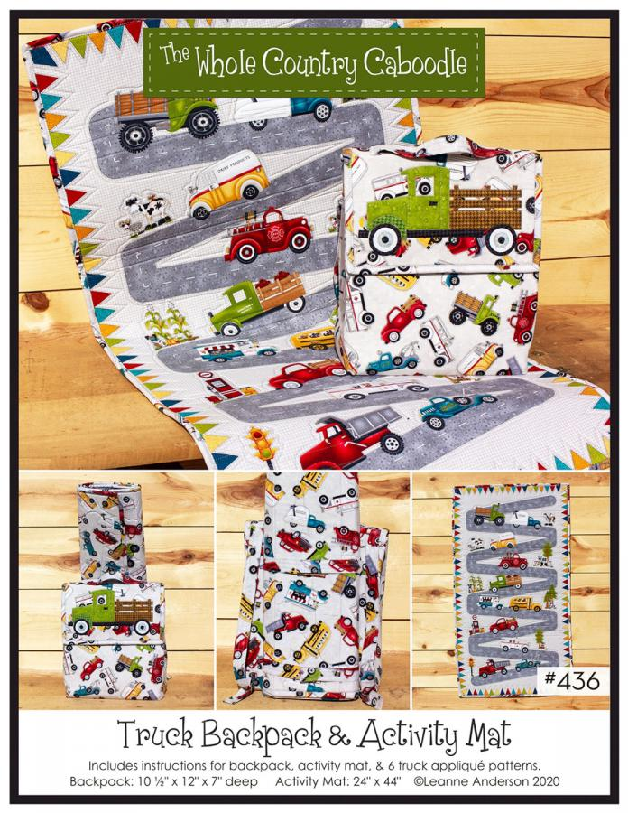 Truck Backpack & Activity Mat sewing pattern from The Whole Country Caboodle
