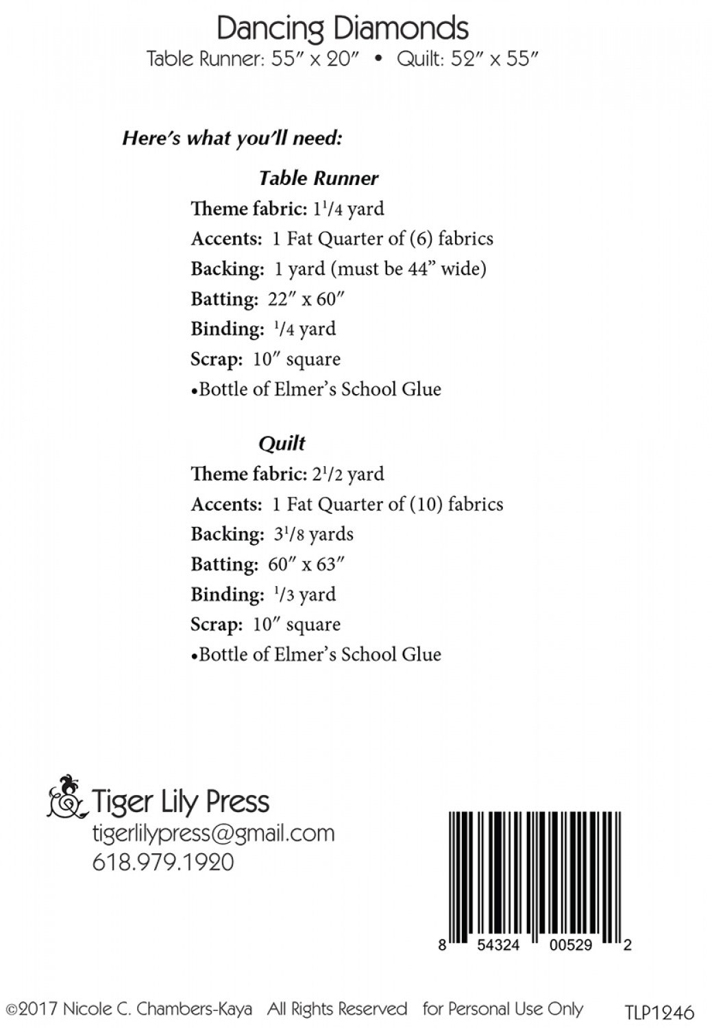 Dancing-Diamonds-Table-Runner-and-Quilt-sewing-pattern-Tiger-Lily-Press-back