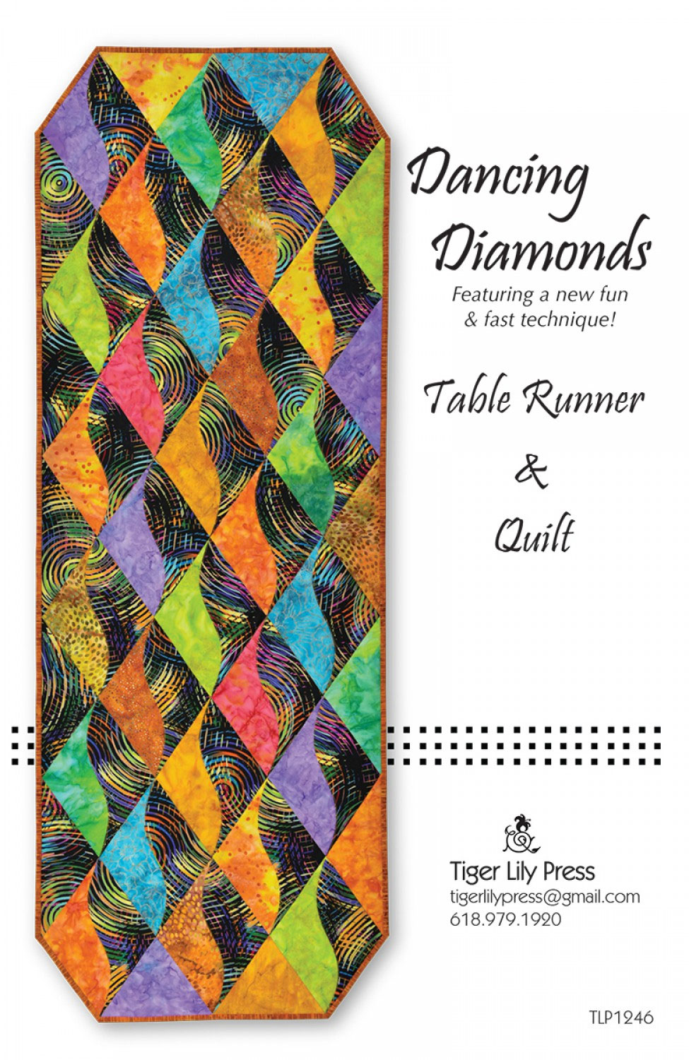 Dancing-Diamonds-Table-Runner-and-Quilt-sewing-pattern-Tiger-Lily-Press-front