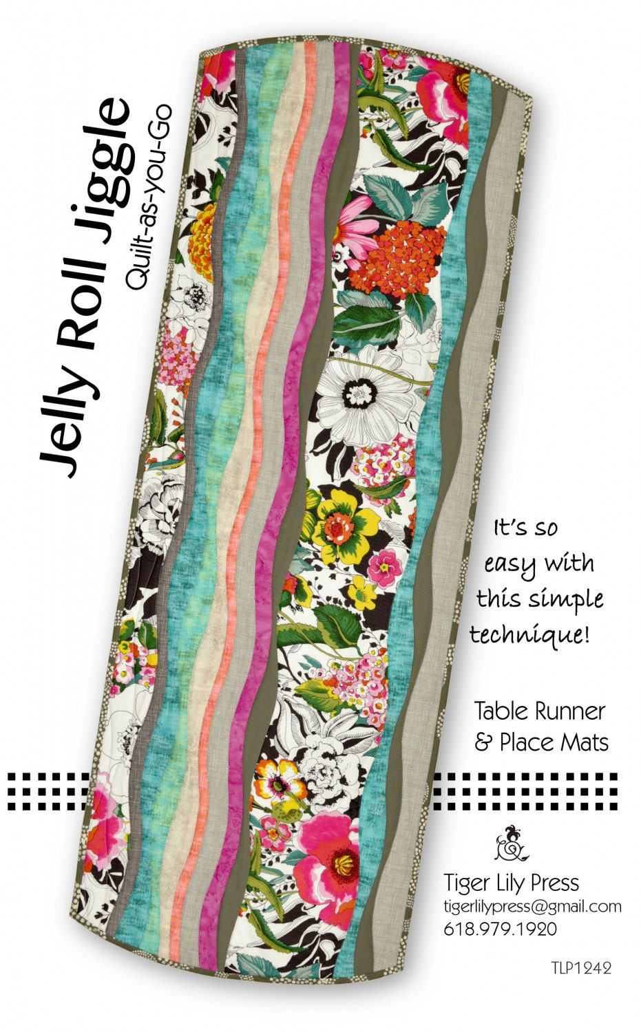 Jelly-Roll-Jiggle-Quilt-as-you-go-Table-Runner-and-place-mats-sewing-pattern-Tiger-Lily-Press-front