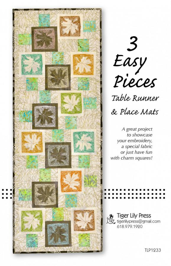 3 Easy Pieces Table Runner and Placemats sewing pattern by Tiger Lily Press