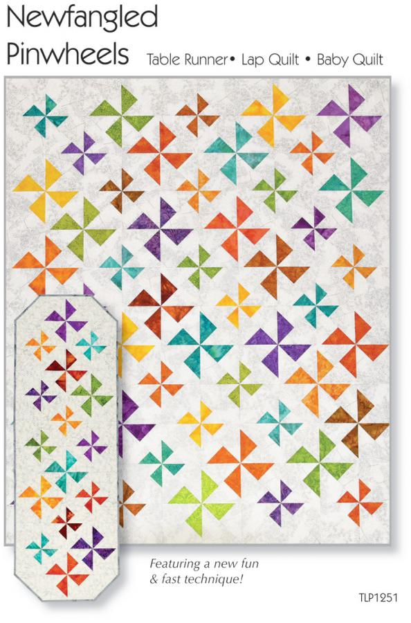 Newfangled Pinwheels Table Runner, Lap Quilt & Baby Quilt sewing pattern by Tiger Lily Press