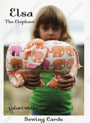 Elsa the Elephant sewing pattern card from Valori Wells Designs