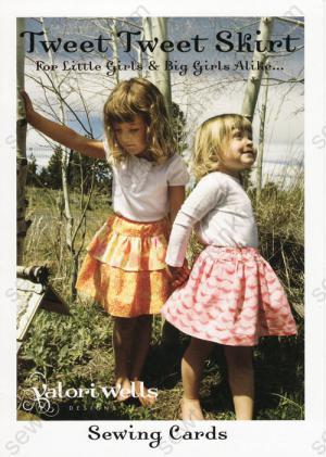 Tweet Tweet Skirt sewing pattern card from Valori Wells Designs