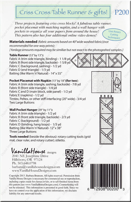 Criss cross table runner sewing pattern from vanilla house designs watchthetrailerfo