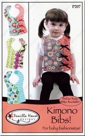 Kimono Bibs sewing pattern from Vanilla House Designs