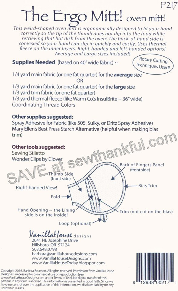The Ergo Mitt! Oven mitt sewing pattern from Vanilla House Designs