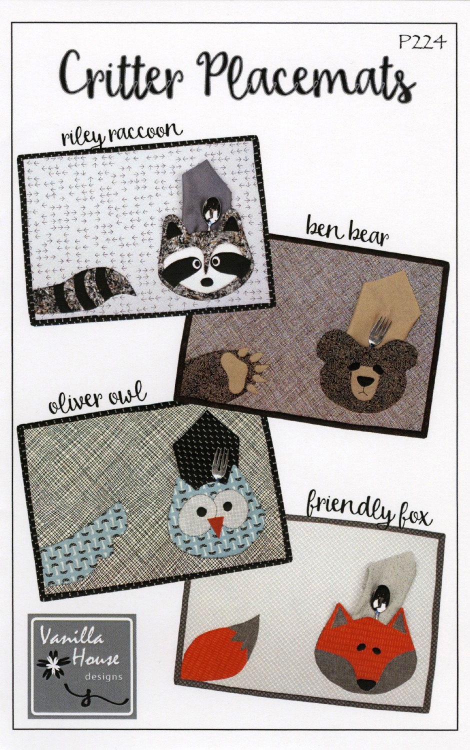 Critter-Placemats-sewing-pattern-Vanilla-House-Designs-front