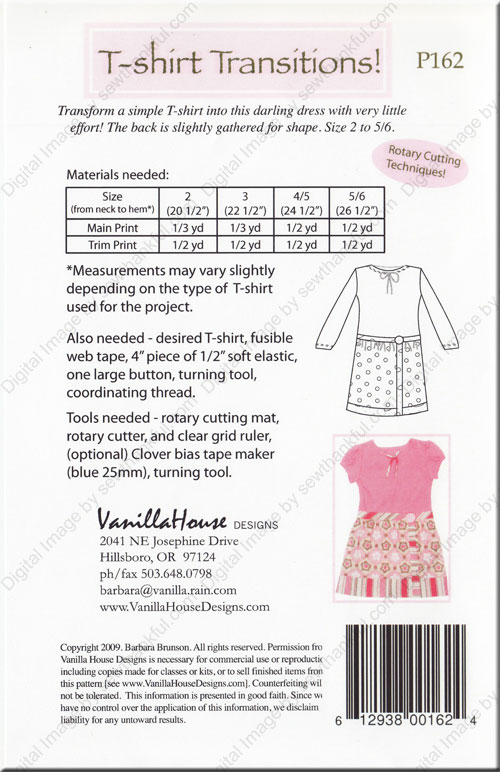 T-Shirt Transitions sewing pattern from Vanilla House Designs