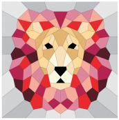 INVENTORY REDUCTION...The Lion English Paper Piecing Project sewing pattern from Violet Craft 2