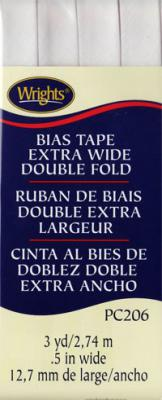 Extra Wide Double Fold Bias Tape from Wrights - White
