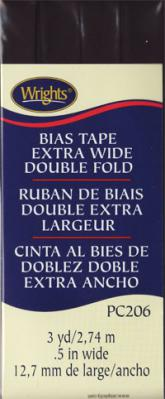 Extra Wide Double Fold Bias Tape from Wrights - Black
