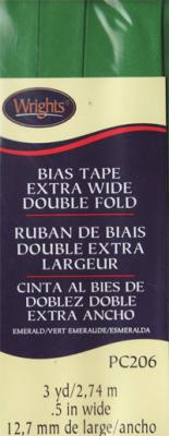 Extra Wide Double Fold Bias Tape from Wrights - Emerald