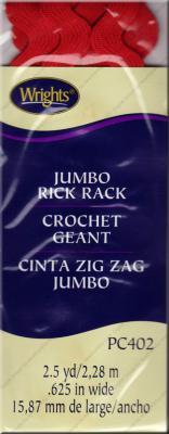 Jumbo Rick Rack from Wrights - Scarlet