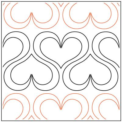 Andi's Ribbon Heart quilting pantograph sewing pattern from Andi Rudebusch