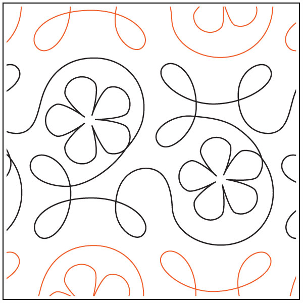 Ginger-Flower-quilting-pantograph-pattern-Apricot-Moon-Designs