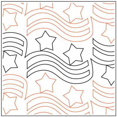 Apricot Moon's Freedom quilting pantograph pattern from Apricot Moon Designs