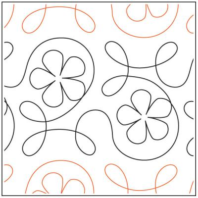 Ginger Flower quilting pantograph pattern from Apricot Moon Designs