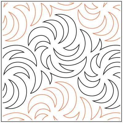 INVENTORY REDUCTION...Becker's Whirligig quilting pantograph pattern by Barbara Becker