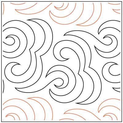 Mustache Tango quilting pantograph pattern by Barbara Becker