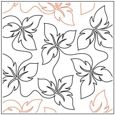 Fancy Trillium Leaf quilting pantograph pattern by Darlene Epp