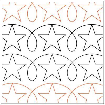 Stars 'n Loops quilting pantograph pattern by Darlene Epp