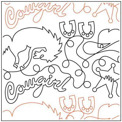 Cowgirl quilting pantograph sewing pattern by Dave Hudson