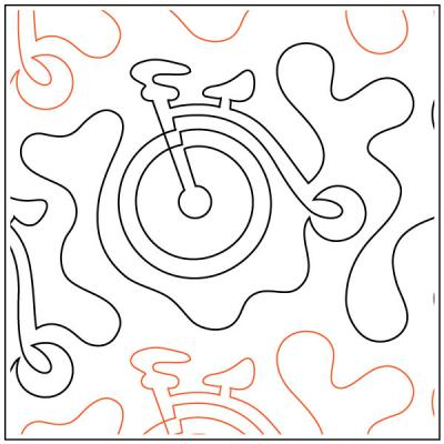 Antique Bicycle quilting pantograph sewing pattern by Dave Hudson