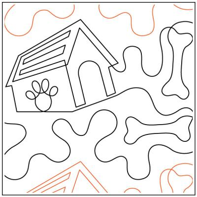 Bone Yard with Dog House quilting pantograph sewing pattern by Dave Hudson
