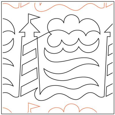 Lighthouse quilting pantograph sewing pattern by Dave Hudson