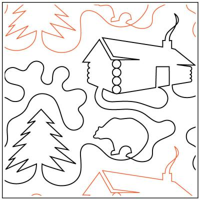 Log Cabin quilting pantograph sewing pattern by Dave Hudson