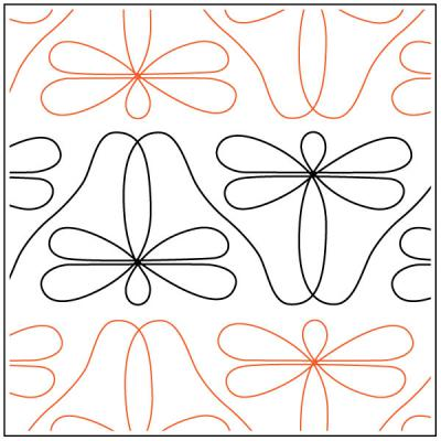 Dave's Dragonfly Border quilting pantograph pattern by Dave Hudson