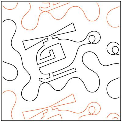 INVENTORY REDUCTION...Helicopter #2 quilting pantograph sewing pattern by Dave Hudson