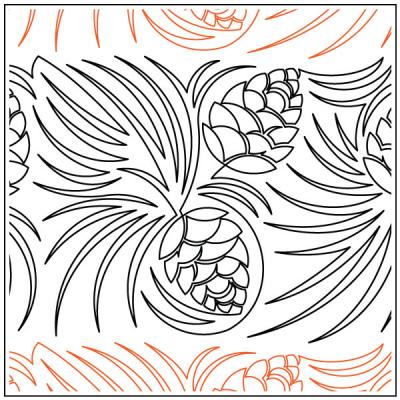 Pinecone Meander quilting pantograph sewing pattern by Deb Geissler