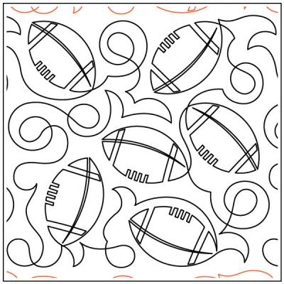 Deb's Footballs quilting pantograph sewing pattern by Deb Geissler