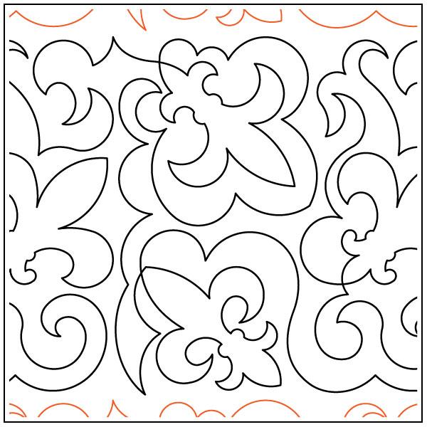 Fleur-De-Lis-Shield-quilting-pantograph-pattern-Deb-Geissler
