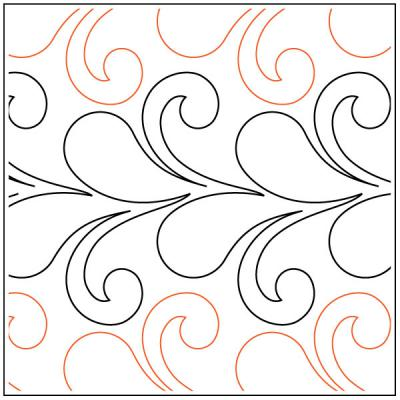 Flirty Feathers and Curls quilting pantograph pattern by Jessica Schick