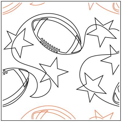 Football Stars quilting pantograph pattern by Jessica Schick