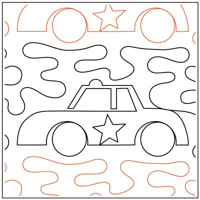 Police Car quilting pantograph sewing pattern from Kristin Hoftyzer