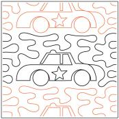 Police Car quilting pantograph sewing pattern from Kristin Hoftyzer 1